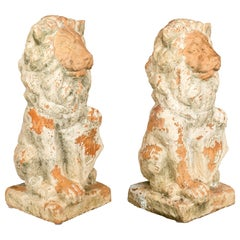 French Terracotta Garden Lions Pair