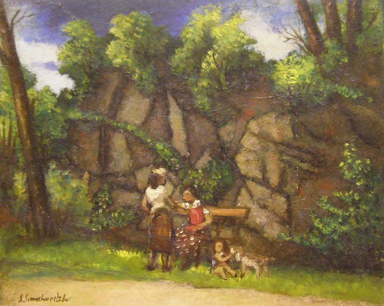 Simka Simkhovitch Landscape Painting - Women in the Park, Greenwich, Connecticut landscape