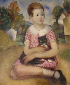 Young Girl With Black Cat