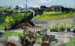 Cornish Out Buildings - impasto of spring green, blues, steely grey and browns