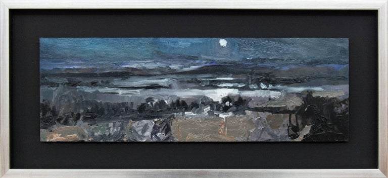 Nocturnal Winter Landscape - gestural, intimate impasto landscape - Painting by Simon Andrew
