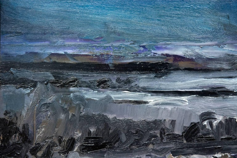 Nocturnal Winter Landscape - gestural, intimate impasto landscape - Contemporary Painting by Simon Andrew