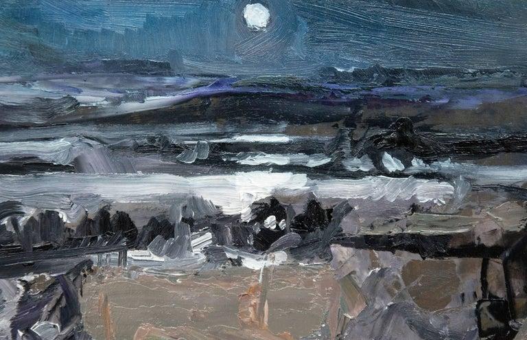 Nocturnal Winter Landscape - gestural, intimate impasto landscape - Gray Landscape Painting by Simon Andrew