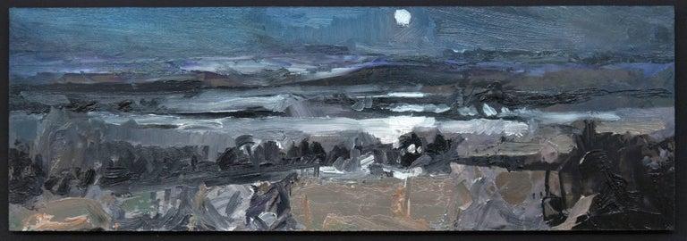 Simon Andrew Landscape Painting - Nocturnal Winter Landscape - gestural, intimate impasto landscape