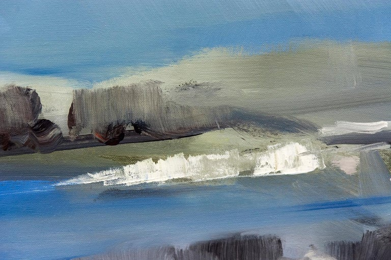 Spring Melt with Cloud on the Horizon - Blue Landscape Painting by Simon Andrew