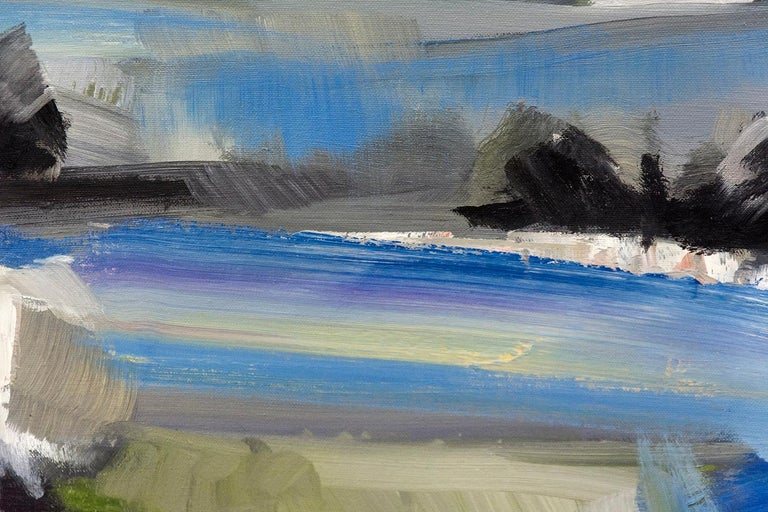 This majestic view of an English landscape by Simon Andrew is made more expansive by a soaring sapphire sky with billowing clouds. The brush strokes are broad in a light oil impasto. Composed in a classic zig zag, the image draws the viewer in and