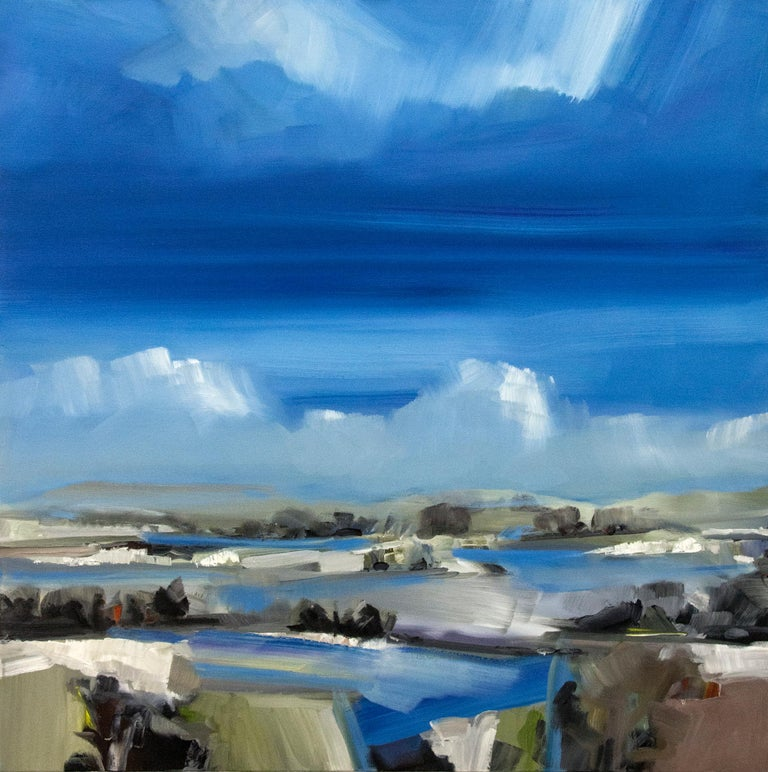 Simon Andrew Landscape Painting - Spring Melt with Cloud on the Horizon