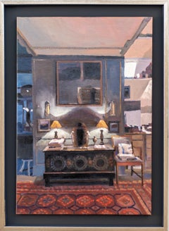 Two Lamps, Trereife - warm, intimate, interior, still life, oil on canvas