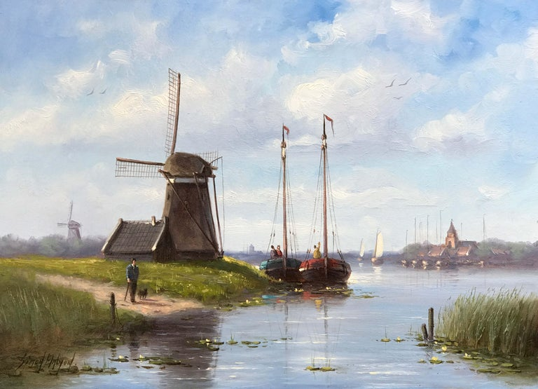 Simon Balyon Dutch Riverside Painting For Sale At 1stdibs