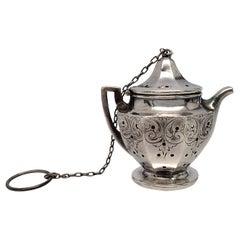 Simon Brothers Sterling Silver Tea Kettle Tea Strainer/Infuser