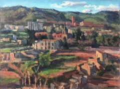 Spanish village landscape oil on canvas painting