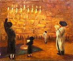 Ecole De Paris Judaica Menorah, Western Wall, Jerusalem Oil Painting