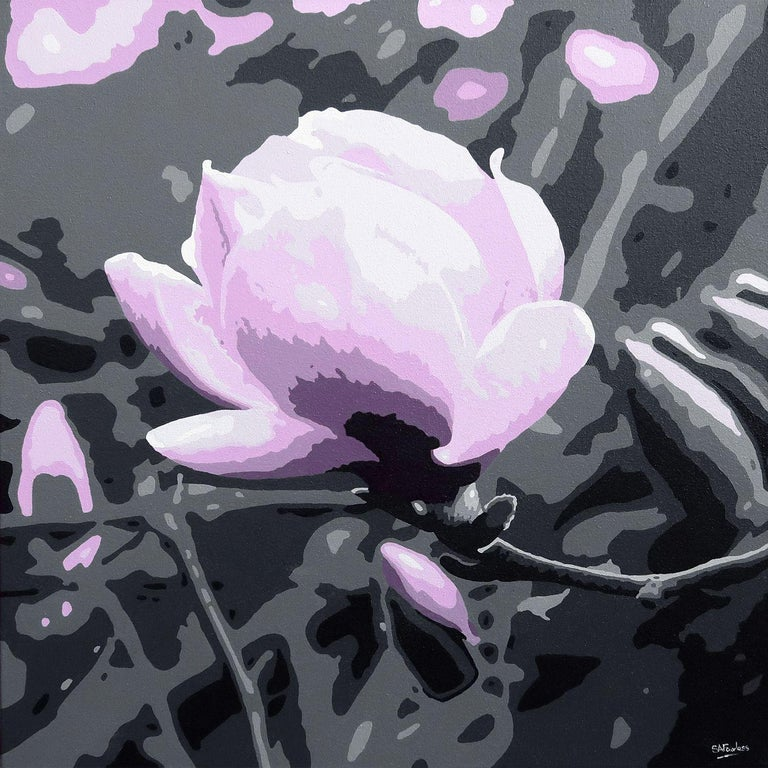 Simon Fairless Magenta Magnolia Painting Acrylic On Canvas