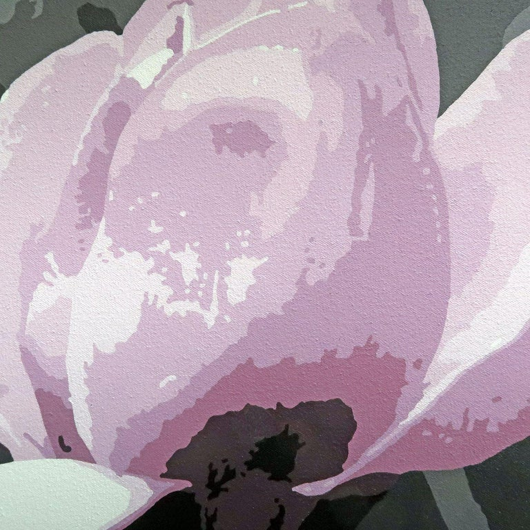 Spring Magnolia, Painting, Acrylic on Canvas For Sale 2