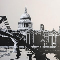 St Paul's and Millennium Bridge, Painting, Acrylic on Canvas