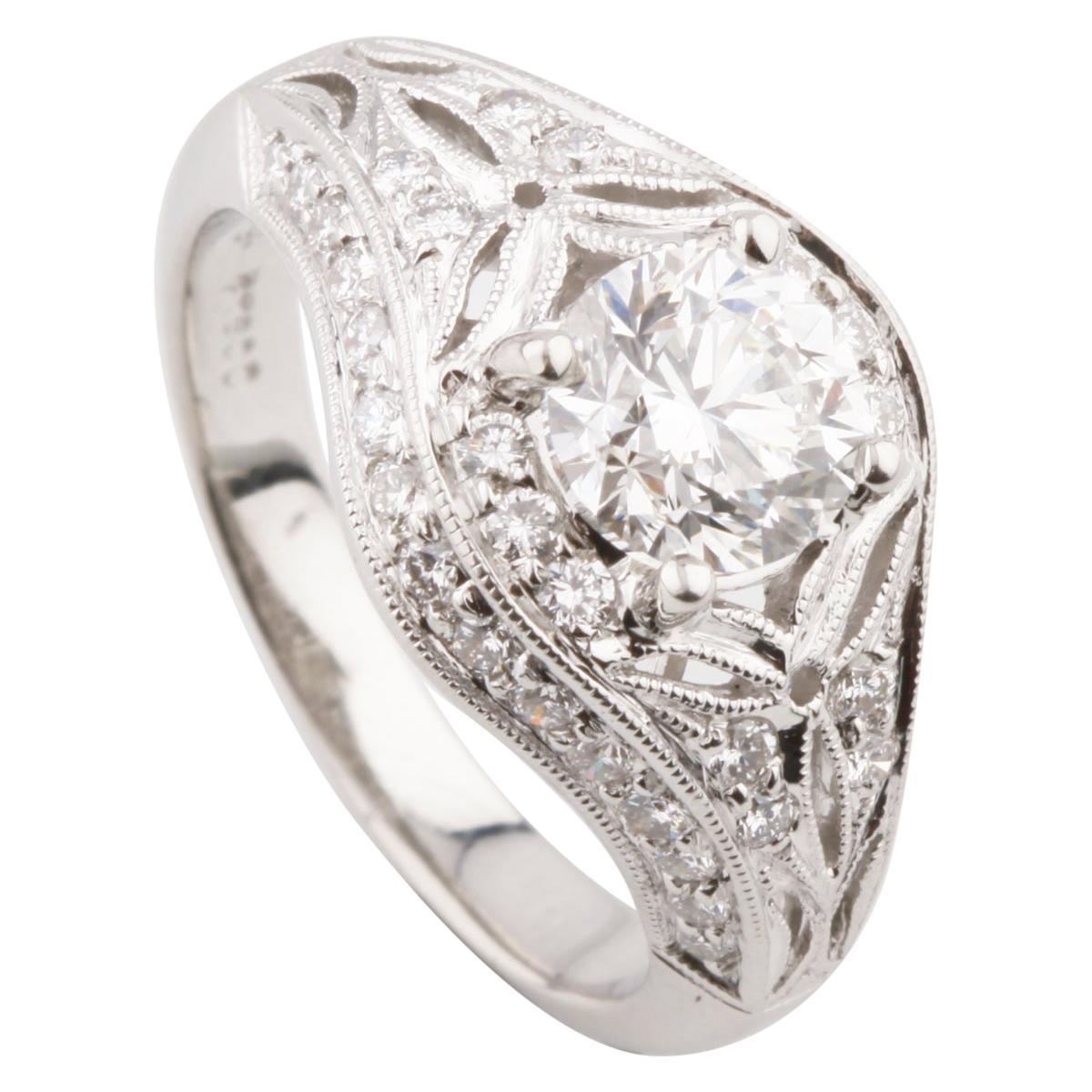 Simon G 1.33 Carat Round Brilliant Diamond Platinum Engagement Ring