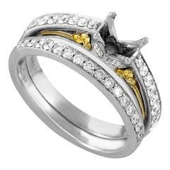 Simon G. 18 Karat White and Yellow Gold Diamond Ring