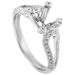 Simon G. 18 Karat White Gold Diamond Engagement Ring Mounting