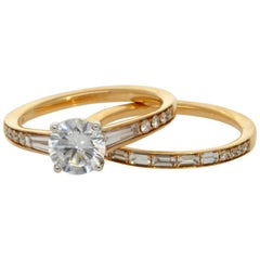 Simon G. 18 Karat Yellow Gold Tapered Channel Set Wedding Set