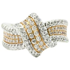 Simon G. Buckle Collection 18 Karat White and Rose Gold Diamond Ring