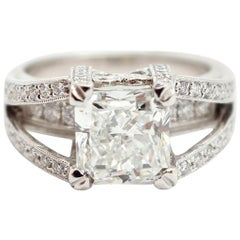 Simon G Custom Platinum Engagement Ring, 3.02 Carat Square Modified Diamond