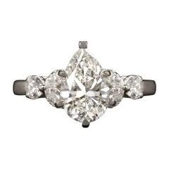 Simon G GIA Certified 2 Carat Pear Cut Platinum Ring