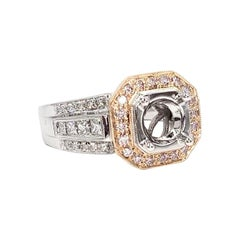 Simon G. NR109 Halo 18 Karat Rose and White Gold Passion Ring