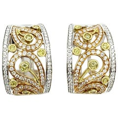Simon G. Paisley Design Tri-Color 18 Karat Diamond Earrings