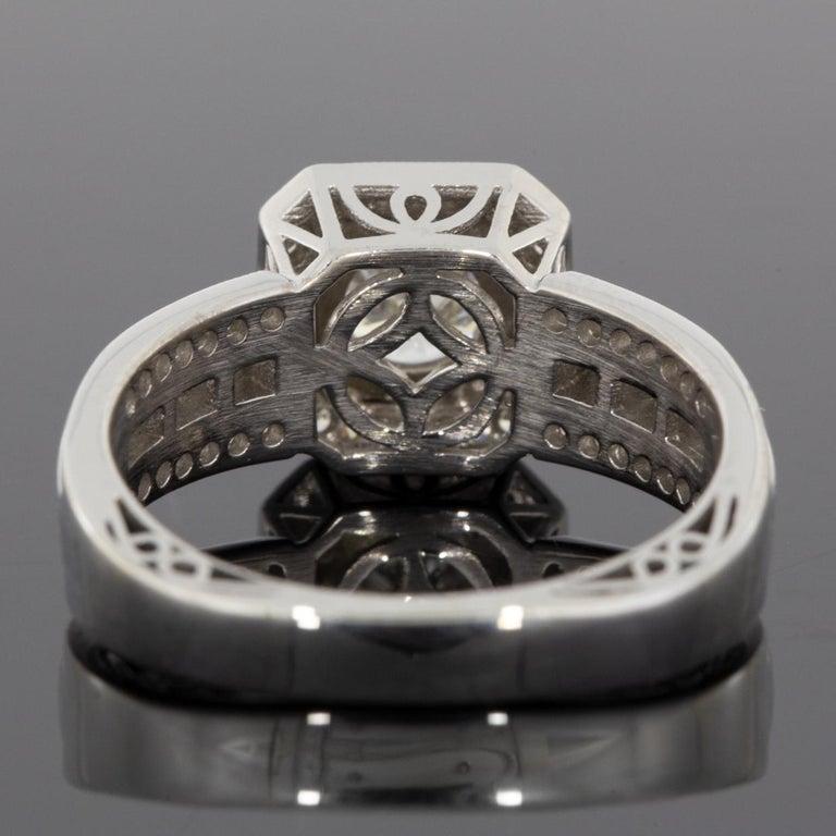 Round Cut Simon G White Gold 1.39 Carat Round Diamond Vintage Engagement Ring For Sale