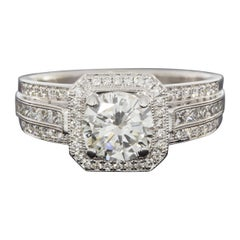 Simon G White Gold 1.39 Carat Round Diamond Vintage Engagement Ring