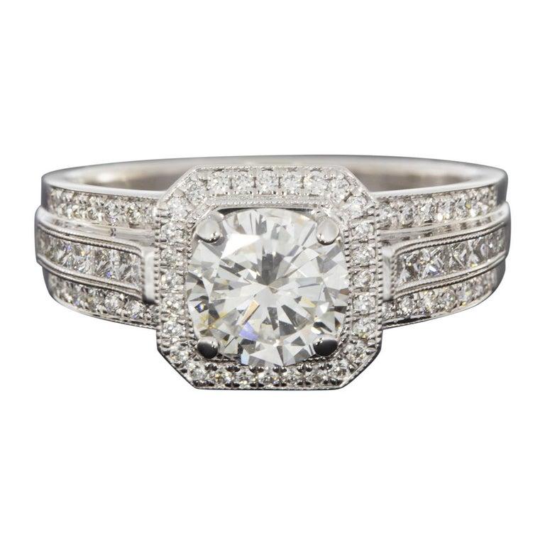 Simon G White Gold 1.39 Carat Round Diamond Vintage Engagement Ring For Sale