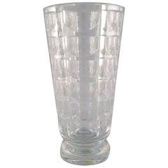 "Simon Gate for Orrefors, ""Thousand Windows"" Art Deco Vase in Satin-Cut Glass"