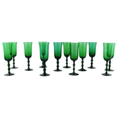Simon Gate Orrefors, a Set of 12 Green Champagne Glasses in Art Glass