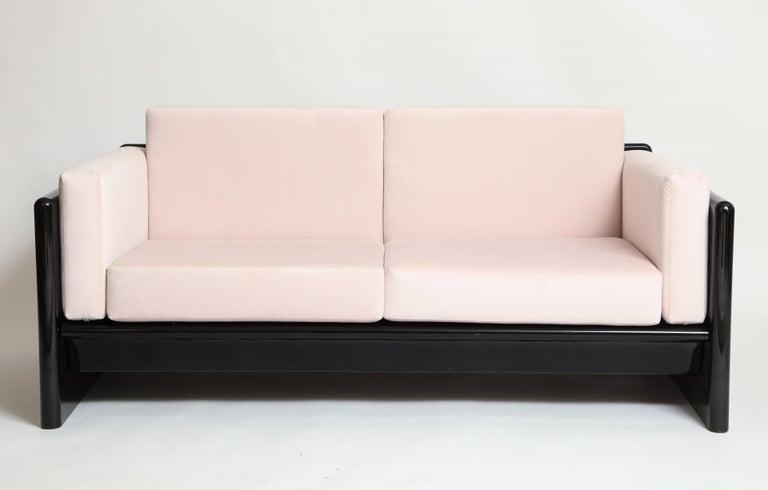 Italian Simon Gavina Black Lacquer Sofa Sette Pink Velvet, Italy, 1970s For Sale