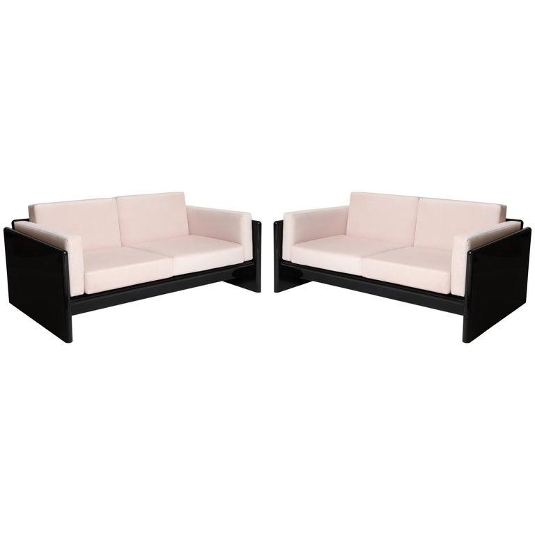 Simon Gavina Black Lacquer Sofa Sette Pink Velvet, Italy, 1970s For Sale