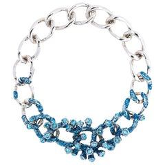 Simon Harrison Aquamarine Coral Crystal And Enamel Chain Necklace