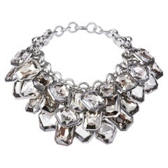 Simon Harrison Aquitaine 3 Row Clear Crystal Octant Drop Necklace