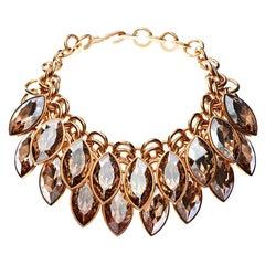 Simon Harrison Aquitaine Crystal Navette Drop Necklace