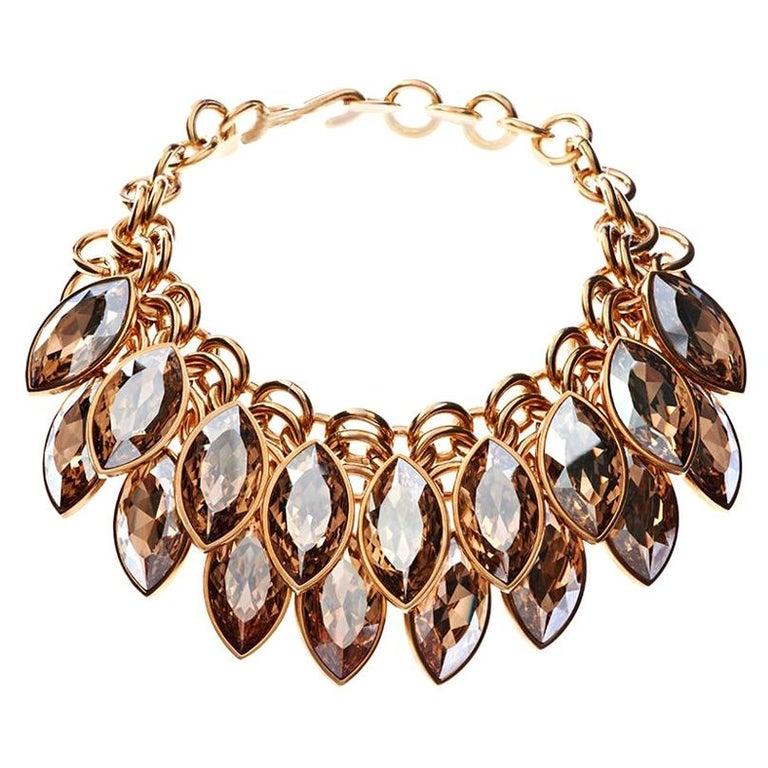 Simon Harrison Aquitaine Crystal Navette Drop Necklace For Sale