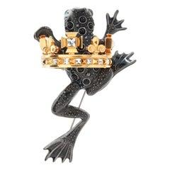 Simon Harrison Black Frog Prince Brooch