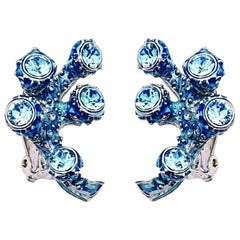 Simon Harrison Blue Coral Crystal and Enamel Cluster Earring