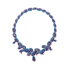 Simon Harrison Blue Ombre Enamel Cactus Kahlo Necklace