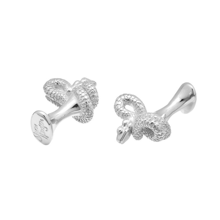 Contemporary Simon Harrison Chinese Zodiac Sterling Silver Snake Cufflinks For Sale