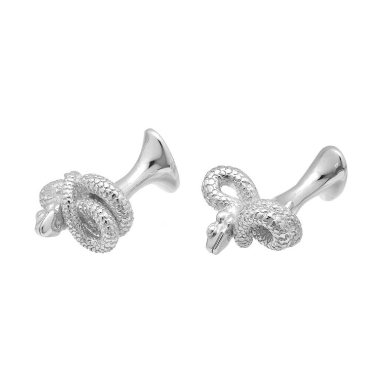Simon Harrison Chinese Zodiac Sterling Silver Snake Cufflinks In New Condition For Sale In London, GB