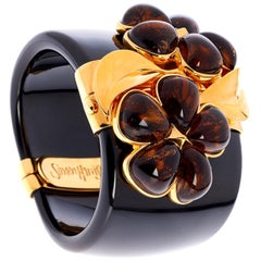 Simon Harrison Chloris Tortoiseshell Flower Black Bangle
