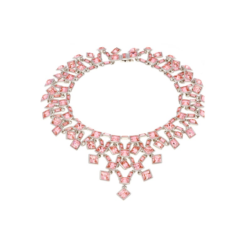 Contemporary Simon Harrison Claudette Small Pink Crystal Necklace For Sale