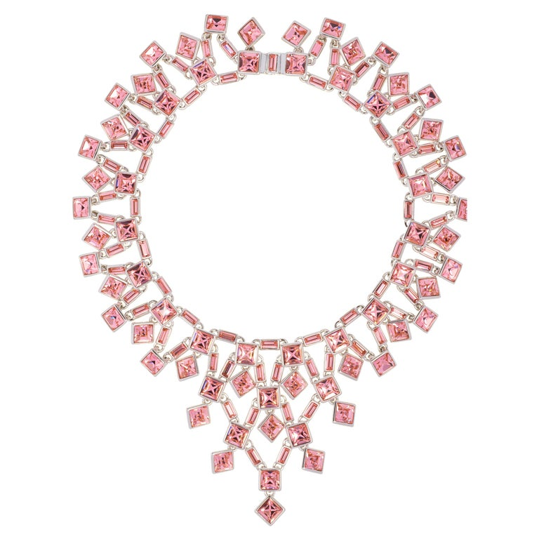 Simon Harrison Claudette Small Pink Crystal Necklace For Sale