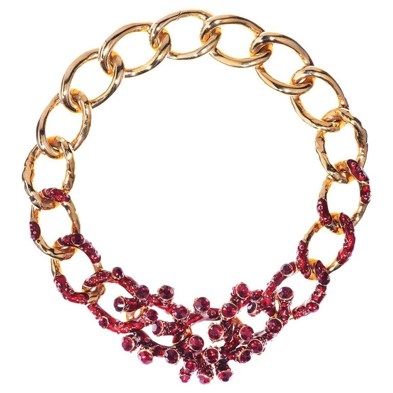 Simon Harrison Coral Red Enamel & Crystal Chain Necklace For Sale