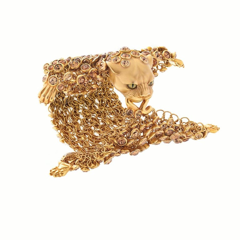 Simon Harrison Dionysus Leopard Gold Crystal and Stainless Steel Bracelet In New Condition For Sale In London, GB