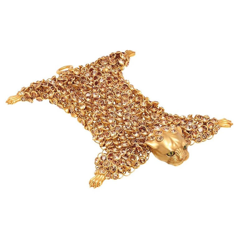Simon Harrison Dionysus Leopard Gold Crystal and Stainless Steel Bracelet For Sale